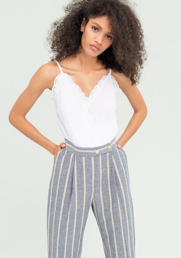 Jumpsuit with striped trousers-FRACOMINA-FR20SM536