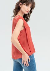 Blouse with V-neckline and pleats-FRACOMINA-FR20SM544