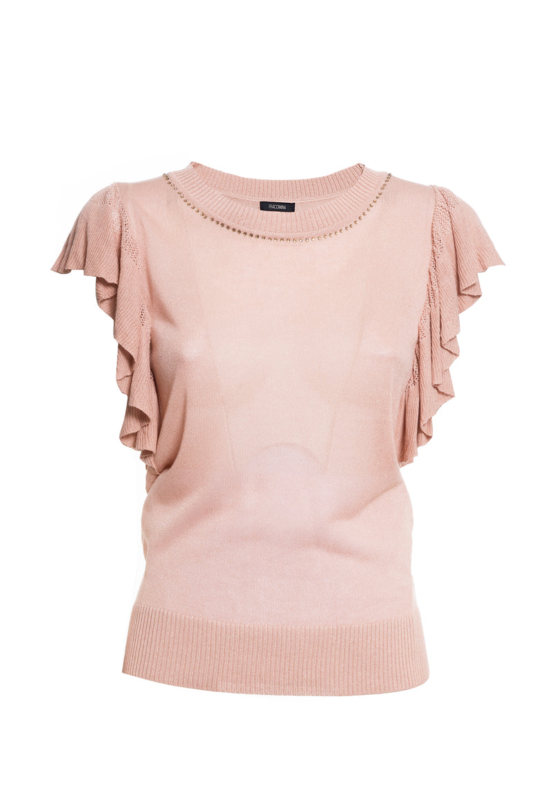 Round-necked t-shirt with ruffles