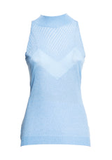 Sleeveless top with perkins collar