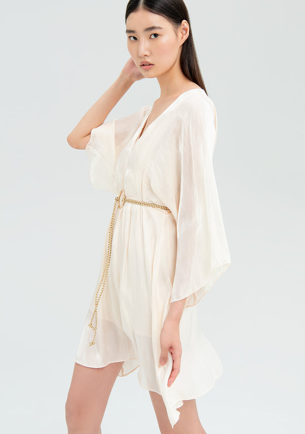 Pale dress with belt