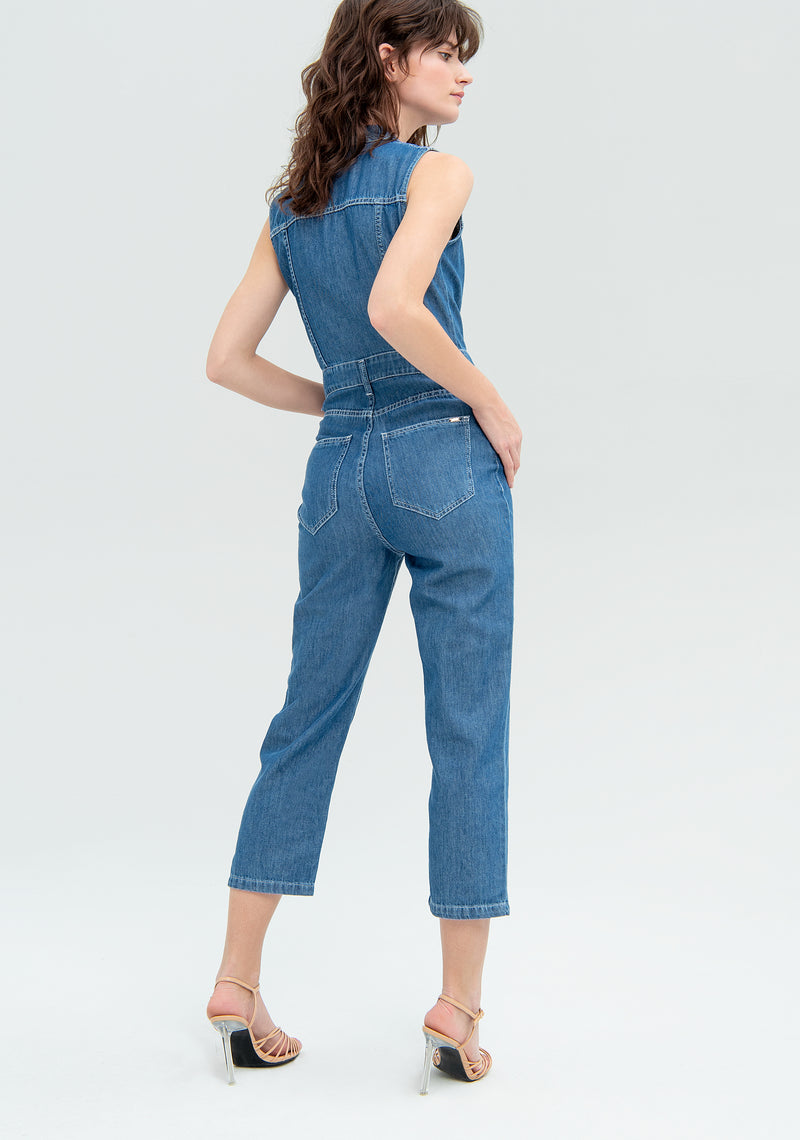 Sleeveless jumpsuit in jeans-FRACOMINA-FR20SMJ137