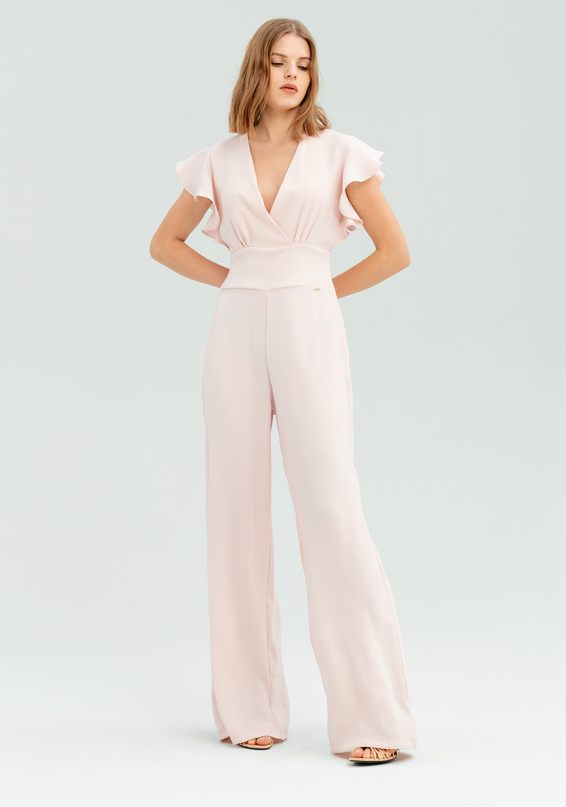 Jumpsuit with ruffle sleeves