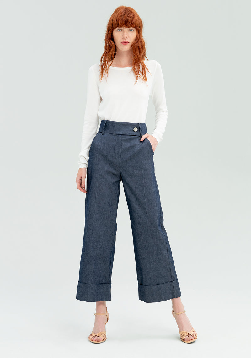 Denim wide leg trousers-FRACOMINA-FR20SP094