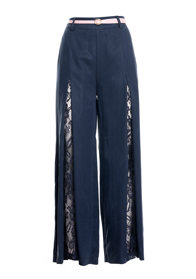 Wide leg trousers with lace
