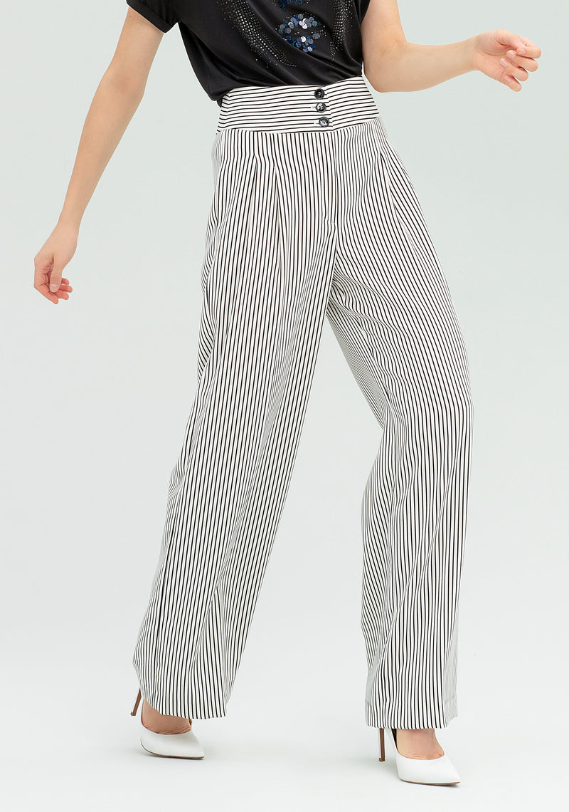 Striped wide leg trousers-FRACOMINA-FR20SP162
