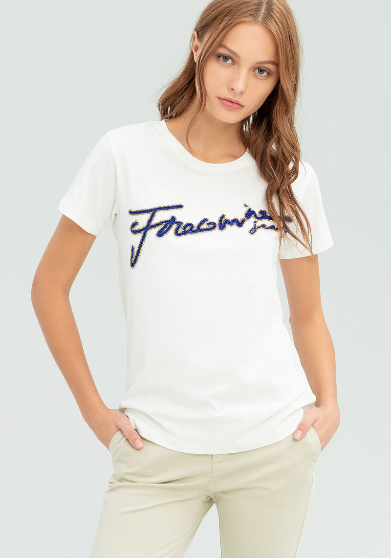 T-shirt with embroidewriting-FRACOMINA-FR20SP302