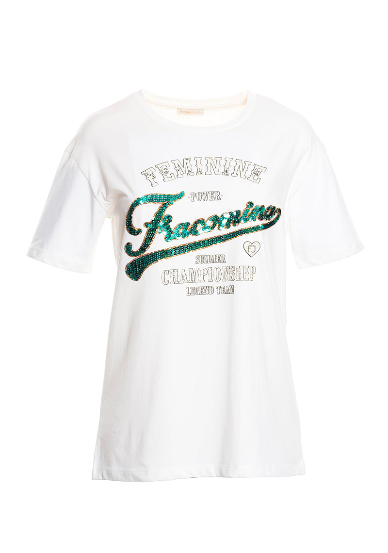 T-shirt with sequin writing