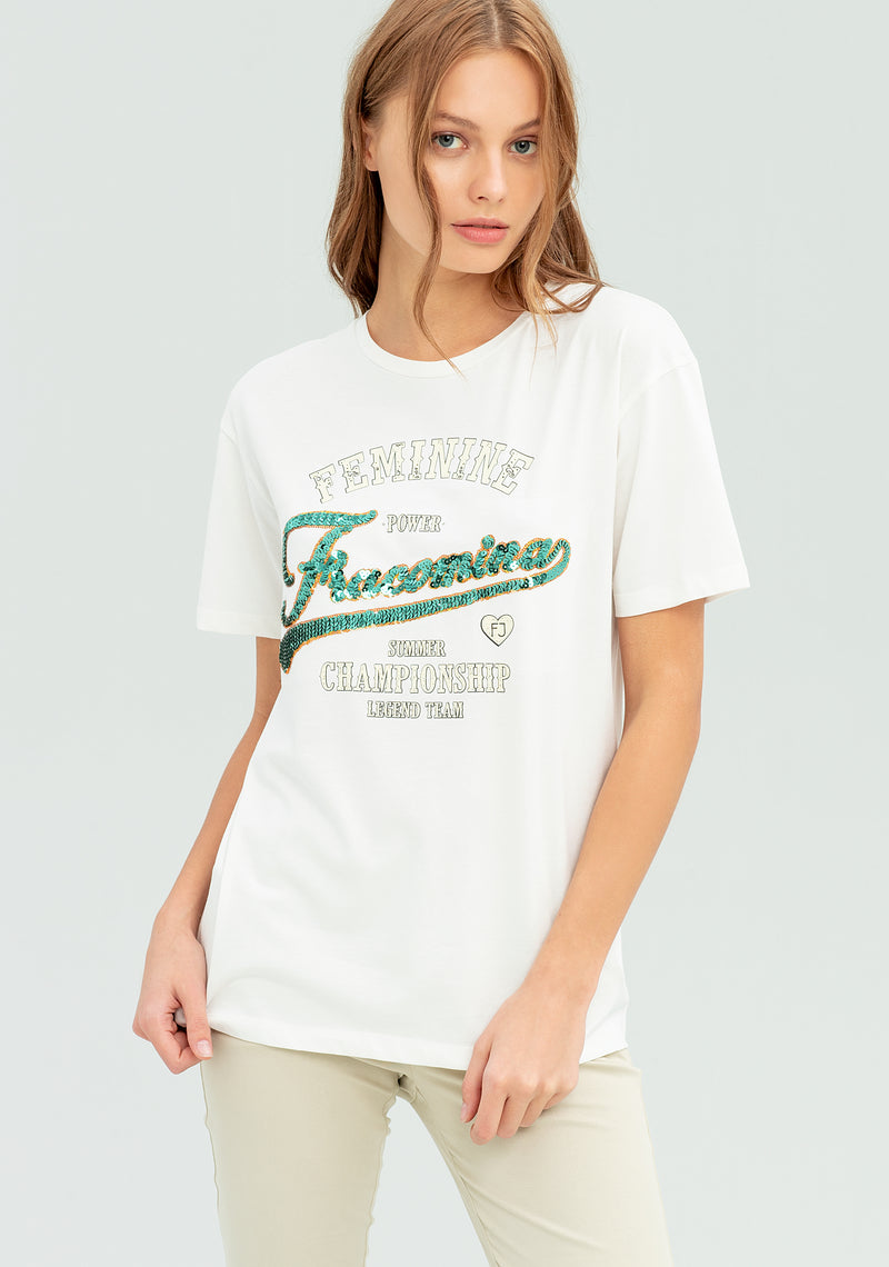 T-shirt with sequin writing-FRACOMINA-FR20SP305