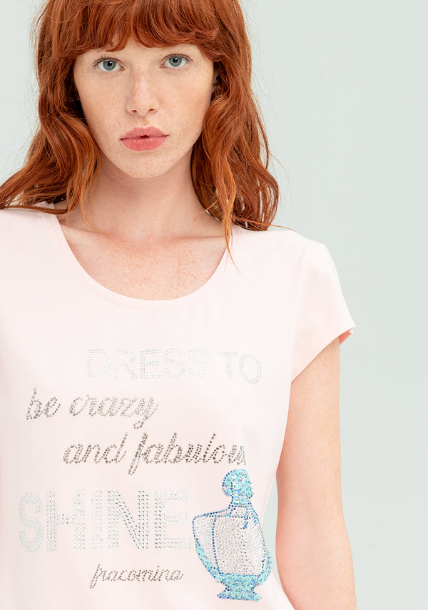 T-shirt with print and sequins-FRACOMINA-FR20SP316