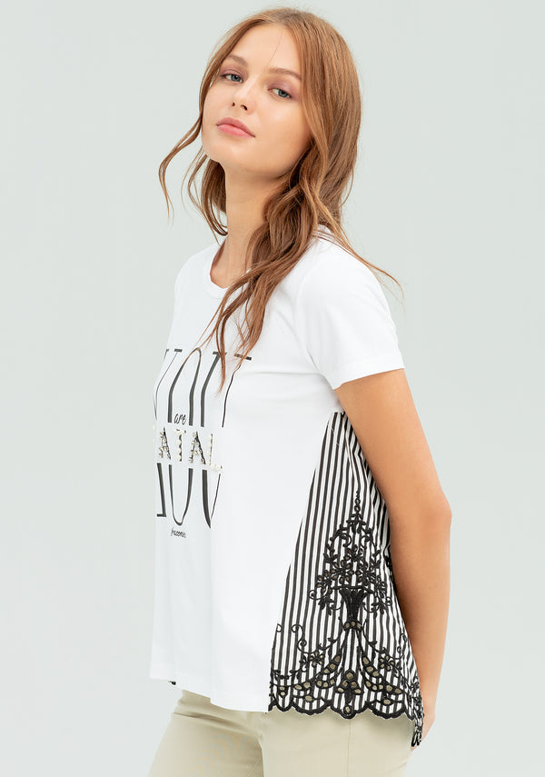 T-shirt with print and striped back-FRACOMINA-FR20SP318