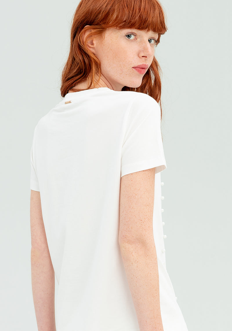 Ballerina T-shirt with embossed details-FRACOMINA-FR20SP321