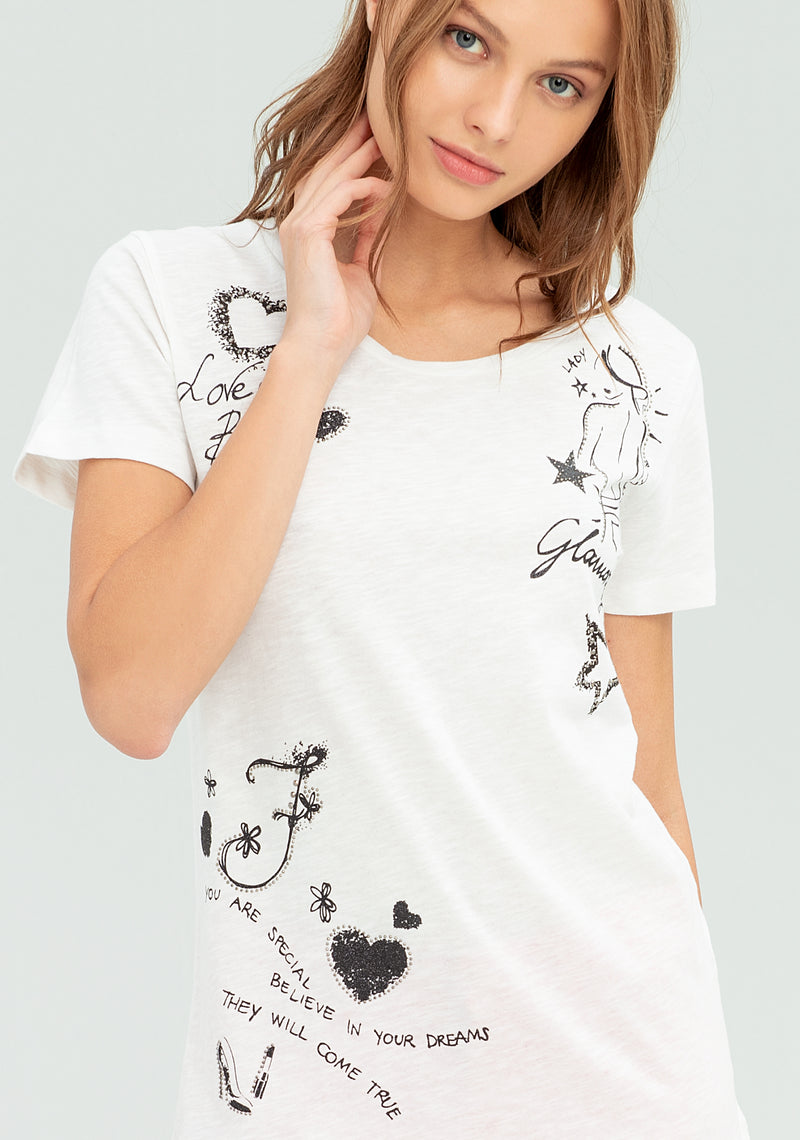 T-shirt with front and back print-FRACOMINA-FR20SP367