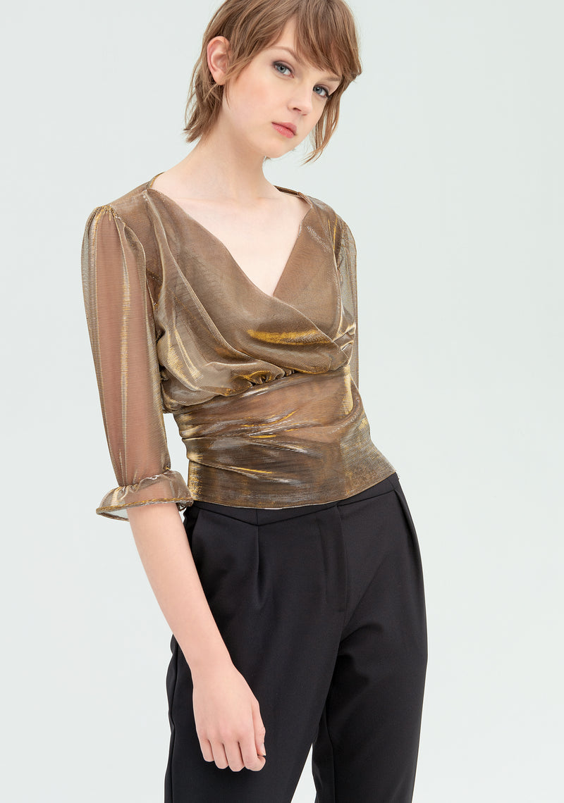Satin blouse with puff sleeves-FRACOMINA-FR20SP443