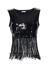 Top shirt with fringes and sequins