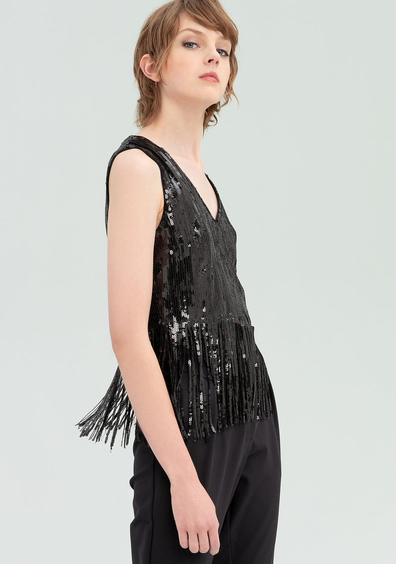 Top shirt with fringes and sequins-FRACOMINA-FR20SP503