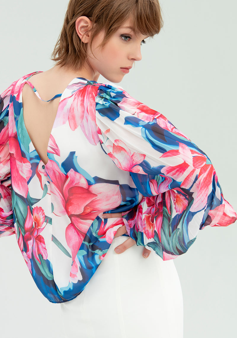 Blouse with open sleeves-FRACOMINA-FR20SP504