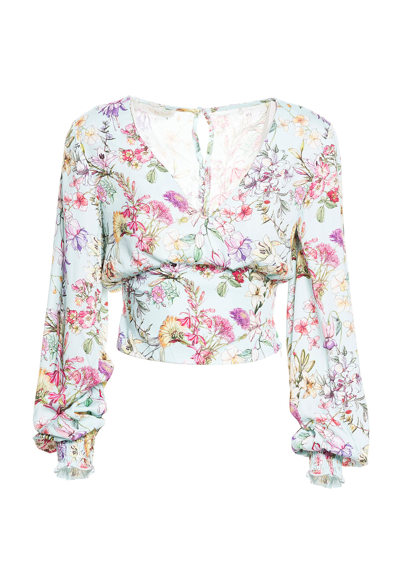 Cropped blouse with floral pattern