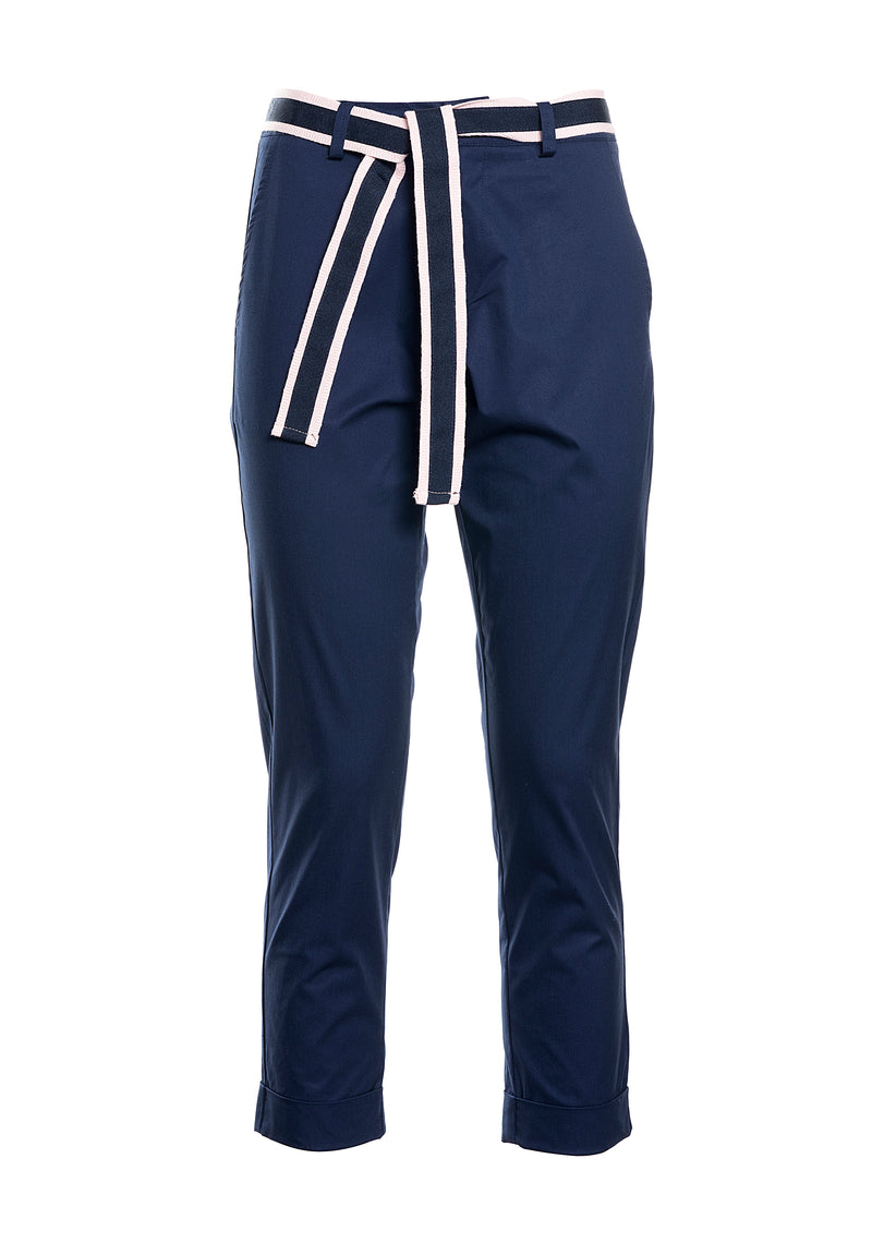 Trousers with striped belt