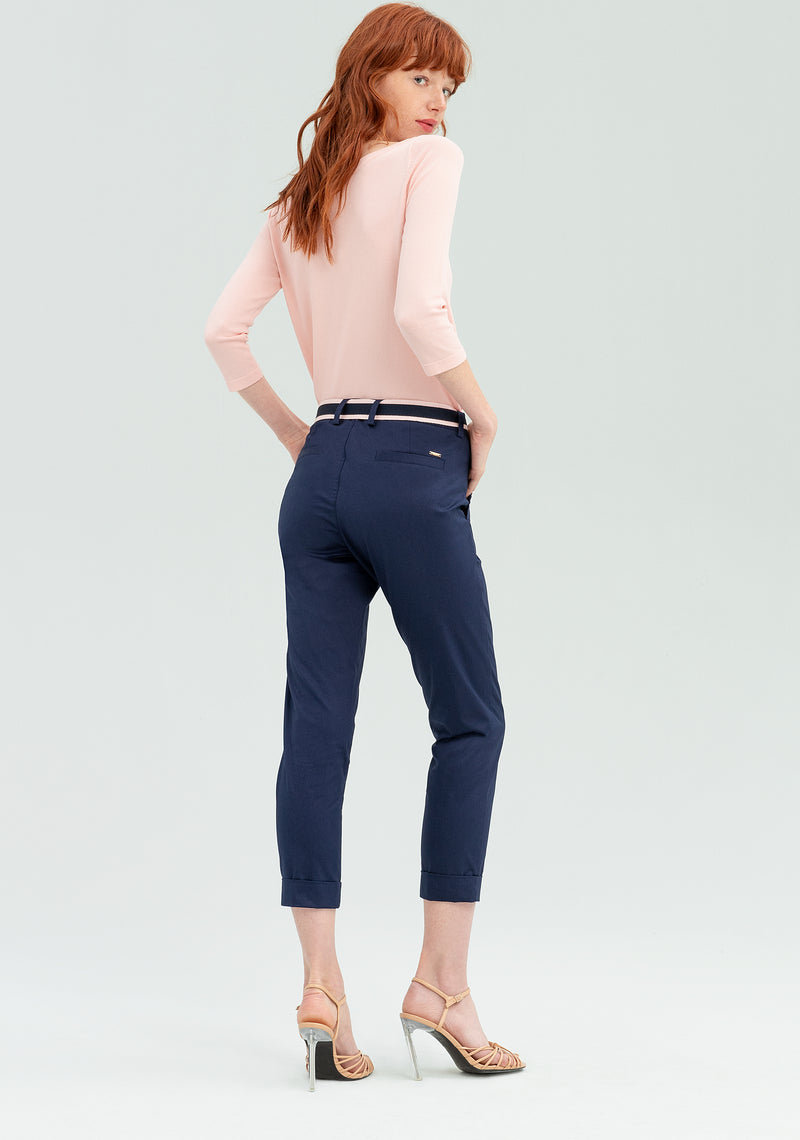 Trousers with striped belt-FRACOMINA-FR20SP608