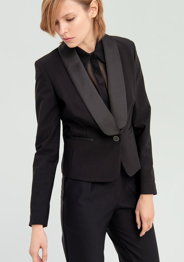 Blazer with satin collar-FRACOMINA-FR20SP659