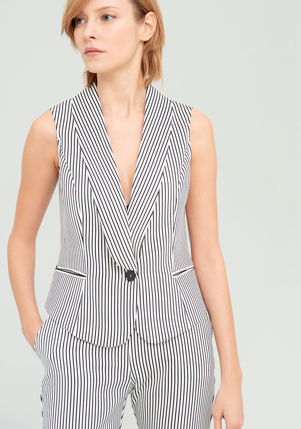 Striped vest with pockets-FRACOMINA-FR20SP667