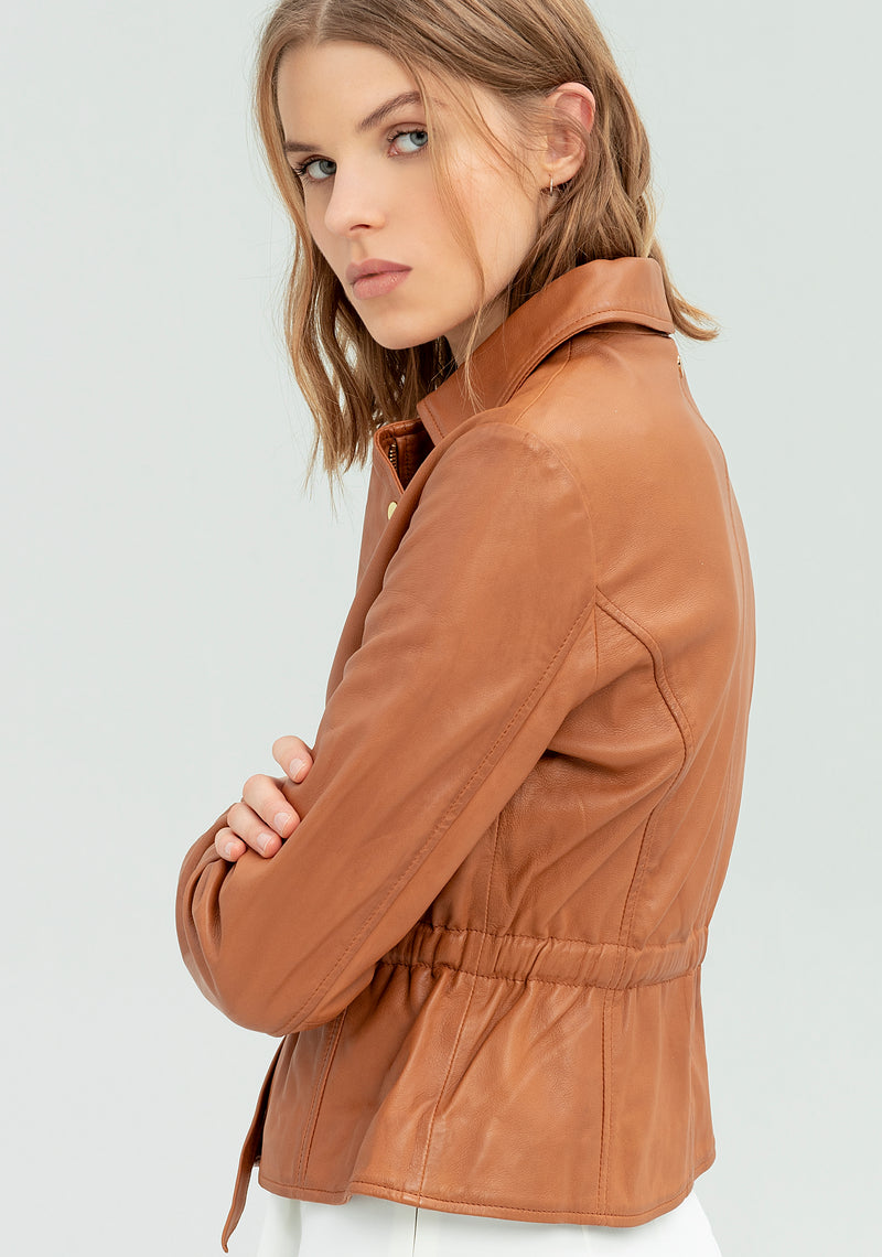 Leather jacket with drawstring-FRACOMINA-FR20SP716