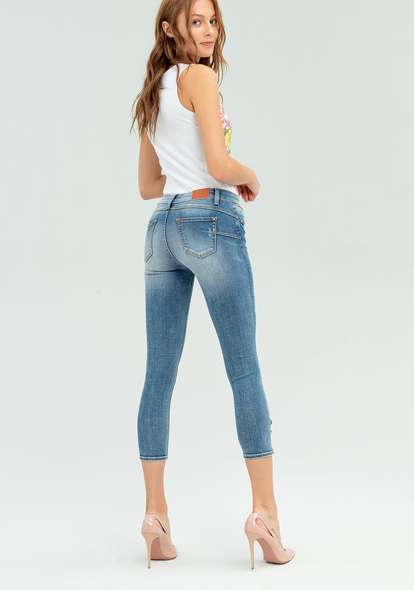 Shape up jeans with embroidery