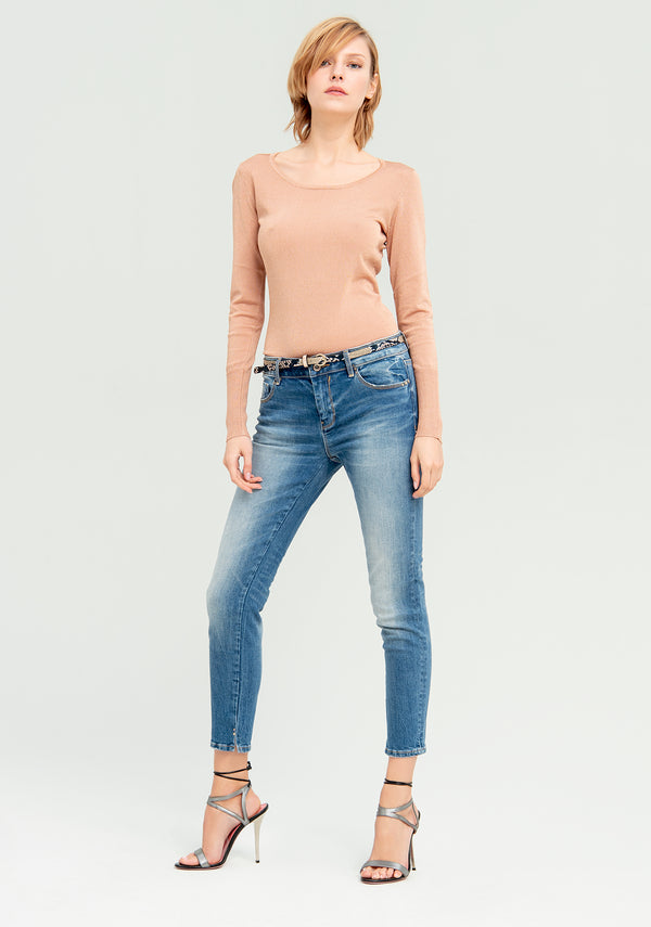 Jeans with python belt