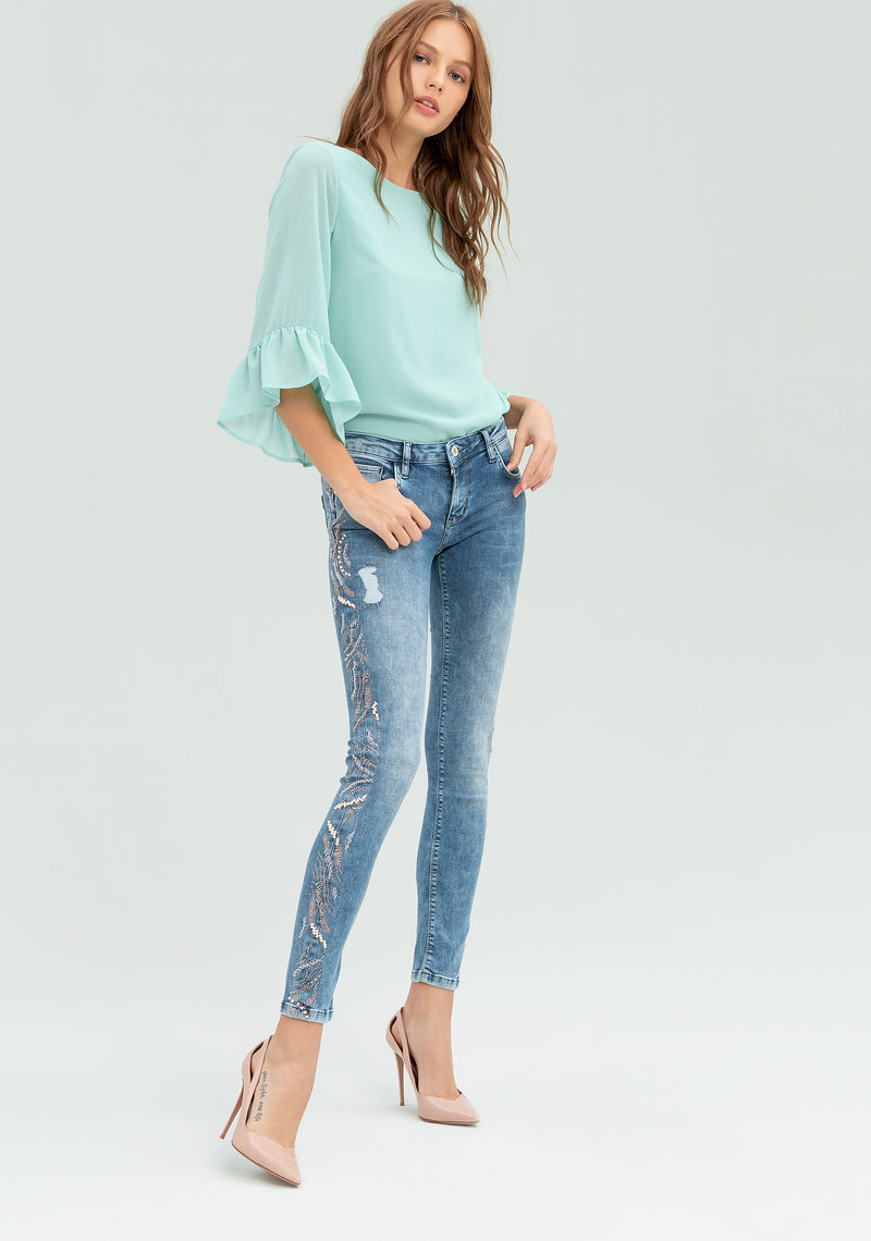 Skinny jeans with sequins-FRACOMINA-FR20SPJTINA12