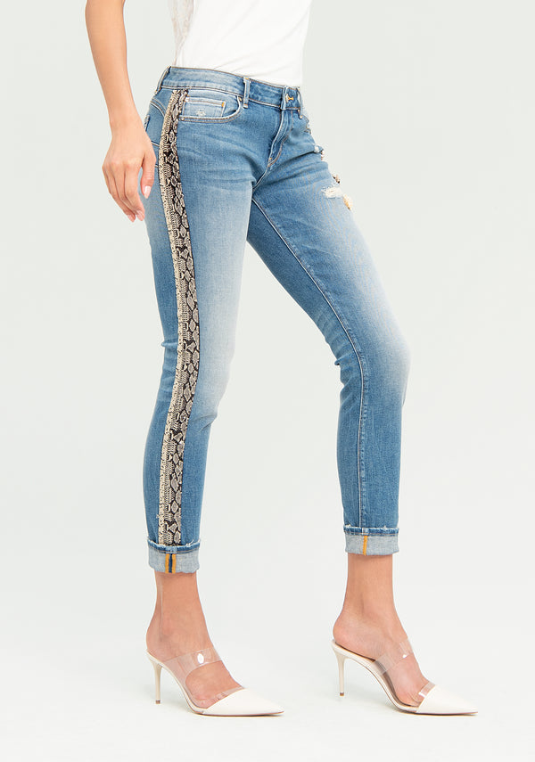 Jeans with python stripes