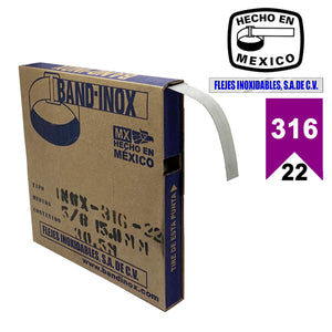 "Fleje Band-Inox 316 - 5/8"" calibre 22"