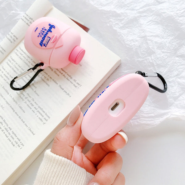 Cute 3D Brand Johnson Baby Cream Lotion Body Lotion Silicone Bluetooth Wireless Earphone Case For Apple AirPods pro 1/2/3 cover|Earphone Accessories