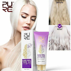 Purc Blonde Purple Hair bleaching shampoo For Silver Ash Removes Yellow Brassy Tones Blonde Bleached Hair Shampoo 100ml|Shampoos|