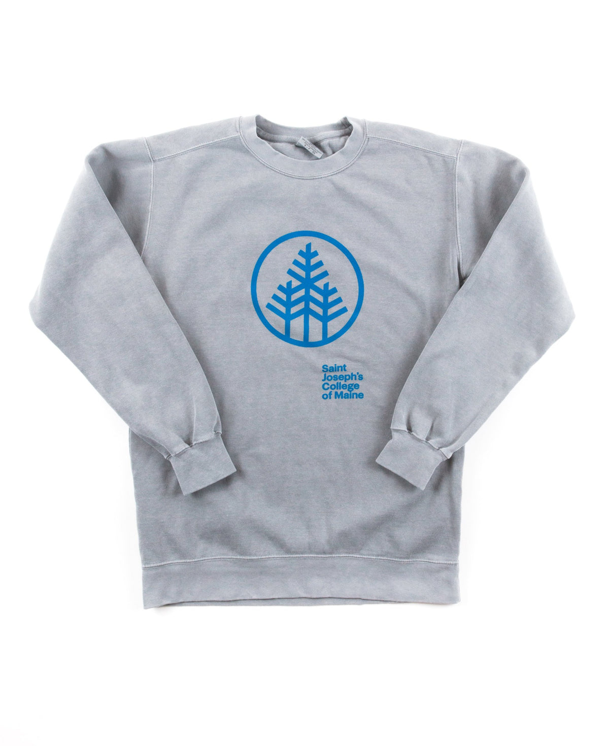 Grey Crew Neck Sweater with Tree Stamp