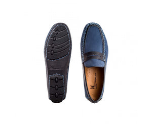 Bleu Suede and perforated leather driver shoes