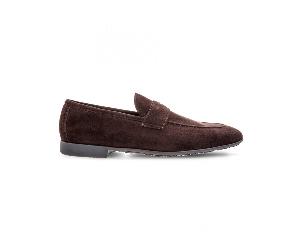 Brown suede loafer shoes
