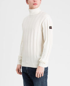 Pure wool ribbed Bretagne turtle neck sweater