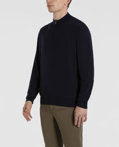 Extra fine winter-summer Merino wool half zip sweater