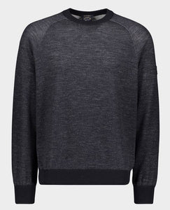 Wool and Tencel Crewneck With Iconic Badge