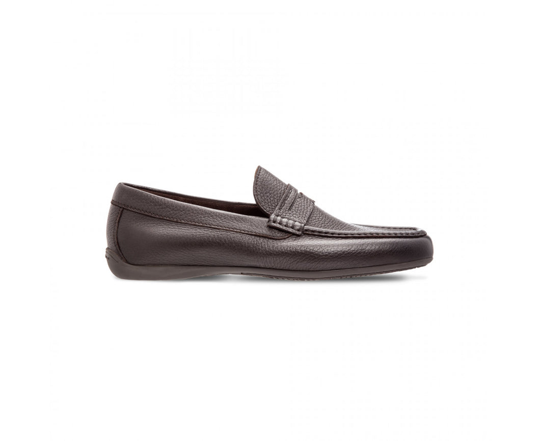 Dark brown deerskin loafer shoes
