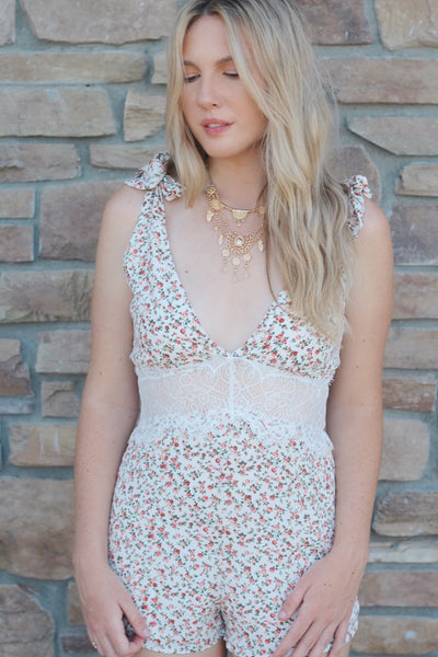 floral romper with lace