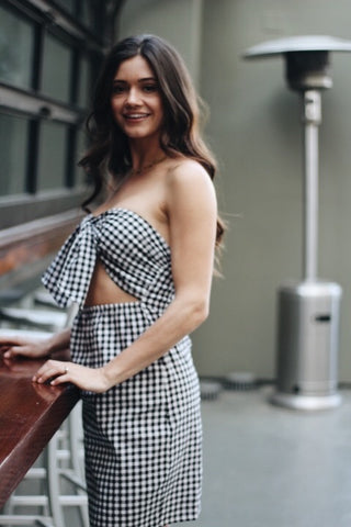 Hold On Dress - Black & White Gingham