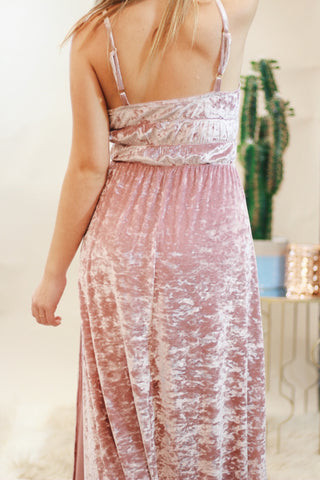 Show Me Your Mumu Aurora Maxi Dress - Rose Crushed Velvet