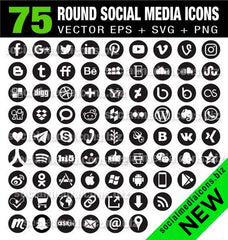 Black Round Social Media Icons - instant download