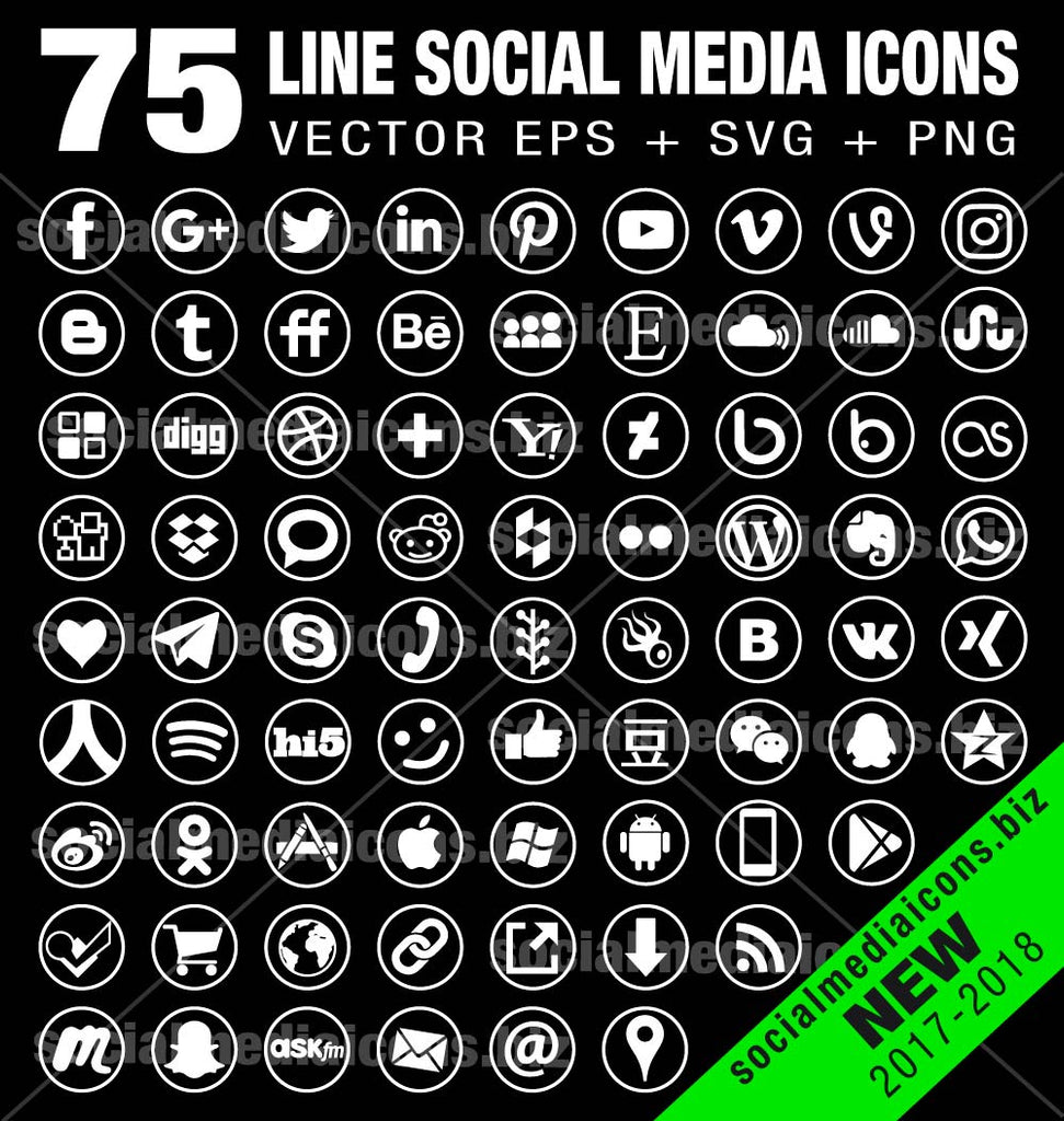 75 Line circle white icons