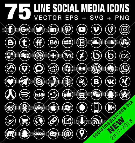 Line Social Media Icons -  Round white (new)