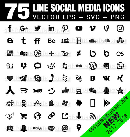 75 Simple flat Social Media Icons - black (new)