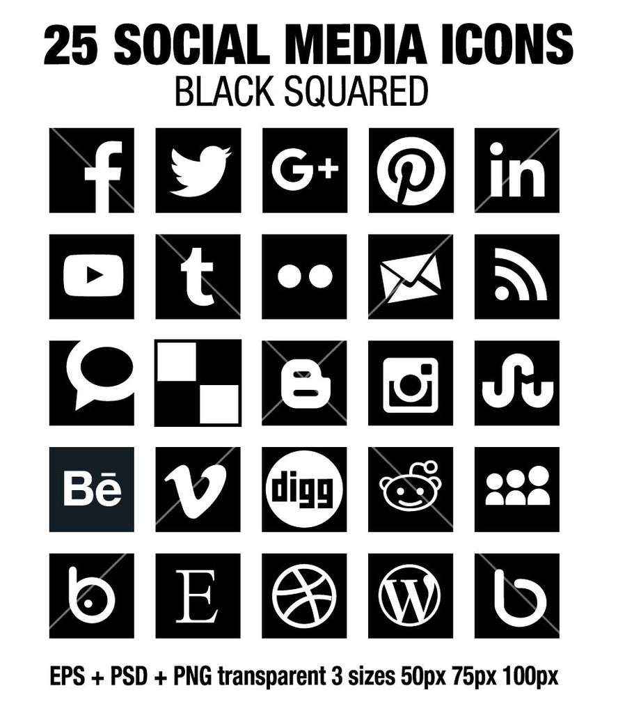 Square Social Media Icons Vector + PSD + Png - black