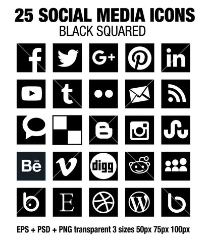 Simple social media square black icons